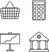 icônes de ligne populaires du panier, de la banque, de la calculatrice, du tableau vecteur