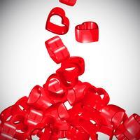 3D coeurs rouges se répandant, vecteur