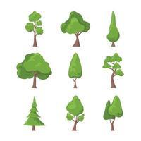 collection d'icônes plat arbre vecteur