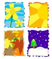 jeu de timbres saisonnier simple vecteur