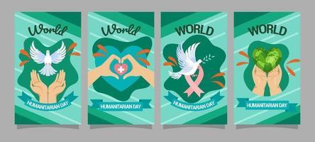 jeu de cartes d'activisme pour la journée humanitaire mondiale vecteur