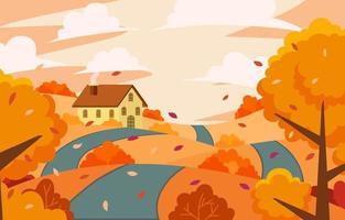 fond de paysage de paysage de saison d'automne vecteur
