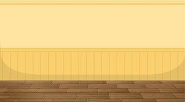 salle vide avec parquet et papier peint jaune vecteur