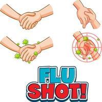 police de vaccination contre la grippe en style cartoon avec les mains tenant ensemble isolés vecteur