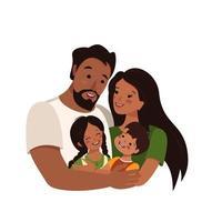 famille afro-américaine ou latine à la peau foncée et aux cheveux noirs vecteur