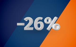 Illustration de vente 3D avec pourcentage, vecteur