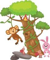 grand arbre et singe et oiseau et lapin et fourmi vecteur