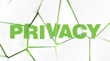 Mot de 'confidentialité' sur une surface blanche brisée, illustration vectorielle