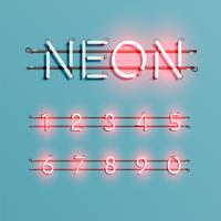 Police de néon réaliste avec fils et console, illustration vectorielle