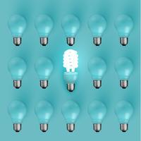 Ampoule d'économie d'énergie parmi les anciens, illustration vectorielle