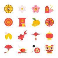 vecteur, ensemble, de, traditionnel, chinois, nouvel an, symboles vecteur