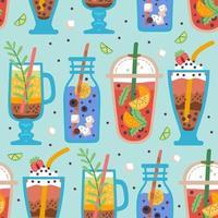 modèle sans couture avec de délicieuses boissons, jus ou smoothies végétaliens vecteur