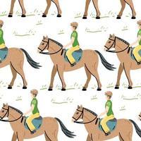 modèle sans couture de cheval de cavalier. toile de fond animale. illustration vectorielle vecteur