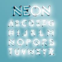Jeu de caractères réaliste néon, illustration vectorielle