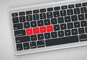Des lettres sur le clavier forment un mot, illustration vectorielle