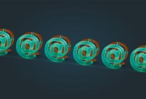 Caractères d'email bois et verre très détaillés, illustration vectorielle