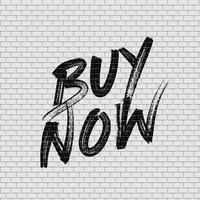 Mur de briques détaillé haute avec illustration vectorielle de peinture «acheter maintenant» vecteur