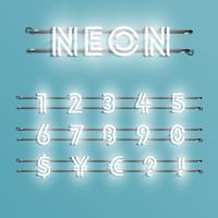 Police de néon réaliste avec fils et console, illustration vectorielle vecteur