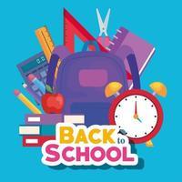 bannière de retour à l'école avec sac à dos et fournitures d'éducation vecteur