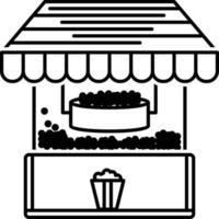 icône de ligne pour machine à pop corn vecteur