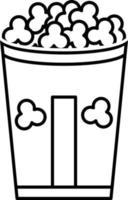 icône de ligne pour pop corn vecteur