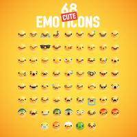 68 émoticônes très détaillées mignonnes différentes pour le web, illustration vectorielle vecteur