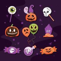 jolie collection d'icônes d'halloween vecteur