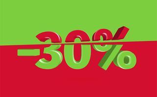Illustration de vente 3D avec pourcentage de coupe, vecteur