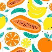 fruits de modèle sans couture, orange, banane, papaye, citron et feuille vecteur