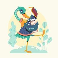 personnages animaux lisant des livres ou rat de bibliothèque de l'oie verte vecteur