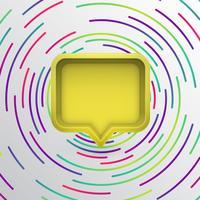 Bulle de dialogue 3D réaliste avec des cercles colorés, illustration vectorielle