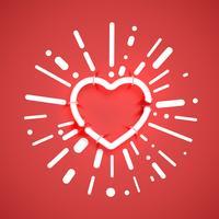 Coeur néon réaliste avec des tubes, illustration vectorielle vecteur