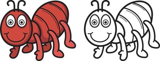 fourmi colorée et noire et blanche pour livre de coloriage vecteur