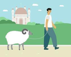 l'homme mène un bélier. carte islamique d'illustration vectorielle eid al adha vecteur