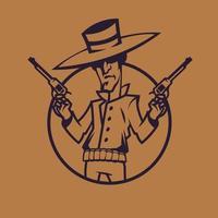 cow-boy tenant des revolvers. art conceptuel de l'ouest sauvage dans un style monochrome. vecteur