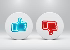 Néon aime et n'aime pas les boutons, illustration vectorielle
