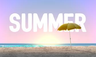 Plage très détaillée au coucher du soleil avec 'été' en arrière-plan, illustration vectorielle