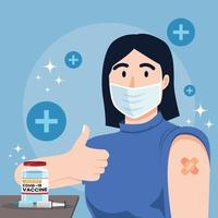 une fille a posé après avoir reçu le vaccin contre le covid vecteur