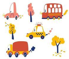 ensemble de voitures de dessins animés. diverses voitures camion taxi bus touristique vecteur
