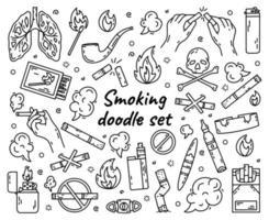 ensemble de vecteurs de tabagisme de cigarettes de mauvaises habitudes vecteur
