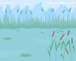 Étang entouré de roseaux télévision vector illustration couleur