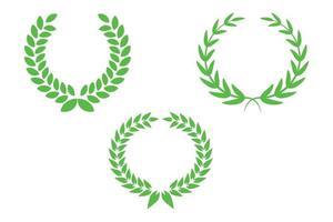 laurier blé vert couronnes de fleurs cadres prix vecteur