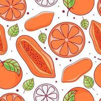 Modèle sans couture papaye et fruit orange avec feuille vecteur