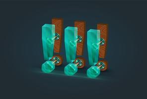 Caractères de point d'exclamation bois et verre très détaillés, illustration vectorielle vecteur