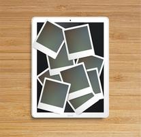 Tablette réaliste avec des cadres, vector