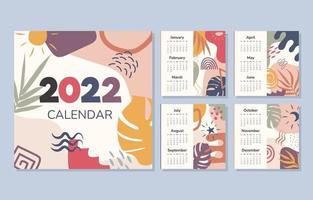 modèle de calendrier de forme organique 2022 vecteur
