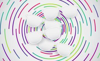 Lunettes de soleil mates blanches pour advertisng, illustration vectorielle