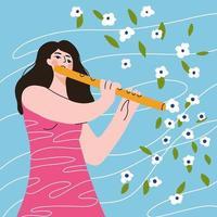 jolie fille de dessin animé jouant de la flûte, la musique est une fleur. vecteur
