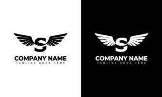 lettre s avec des ailes logo étiquette emblème signe timbre. illustrations vectorielles vecteur