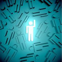 Démarquez-vous de la foule homme brillant avec la main levée, illustration vectorielle